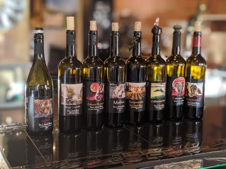The wines from our wine tasting at Vino Colorado Winery at The Sweet Elephant